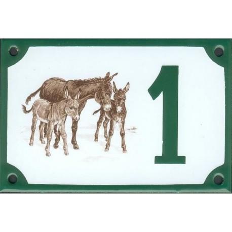 Numéro de rue émaillé 10 x 15 cm : Ânes