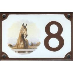 Numéro de rue émaillé 10 x 15 cm : Cheval américain.
