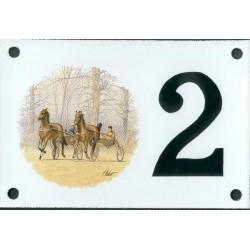Numéro de rue émaillé 10 x 15 cm : Chevaux sulky