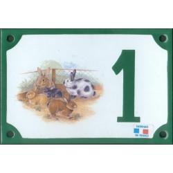 Numéro de rue émaillé 10 x 15 cm : Lapins