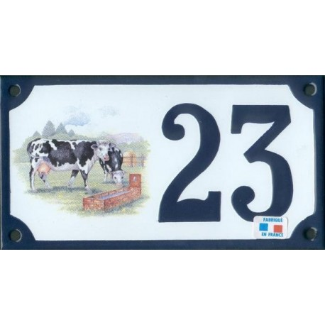 Numéro de rue émaillé 10 x 15 cm : Vaches