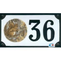Numéro de rue émaillé 10 x 15 cm : Écureuil