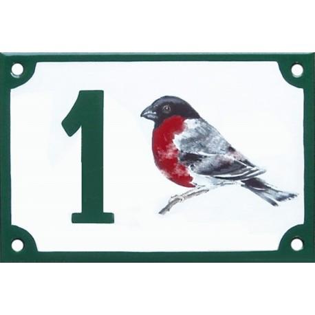 Numéro de rue émaillé 10 x 15 cm : Bouvreuil