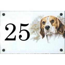 N° de rue décor Chien Beagle 10 x 15 cm.