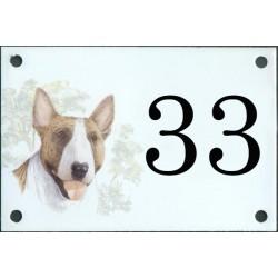 N° de rue décor Chien Bull Terrier 10 x 15  cm.