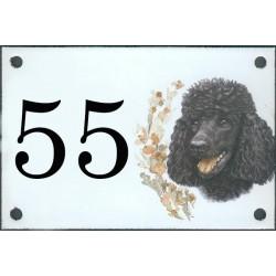 N° de rue décor Chien  Caniche Noir 10 x 15  cm.