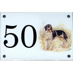 N° de rue décor Chien de chasse noir et Blanc 10 x 15  cm.