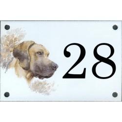 N° de rue décor Chien Dogue Oreilles longues  10 x 15  cm.