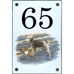 N° de rue décor Chien Fox Terrier  10 x 15  cm.