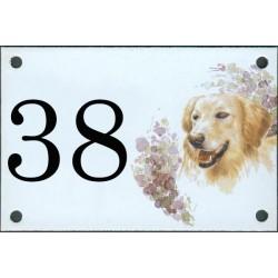 N° de rue décor Chien Golden Retriever  10 x 15  cm.