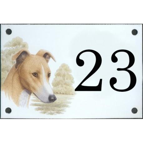 N° de rue décor Chien Greyhound 10 x 15  cm.