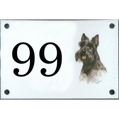 N° de rue décor Chien Scottich Terrier Noir 10 x 15 cm.
