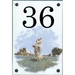 N° de rue décor Chien Scottich Terrier Blanc 10 x 15  cm.