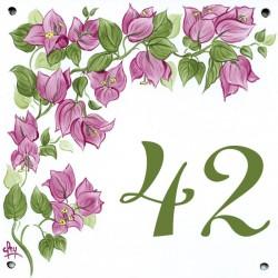 Plaque émaillée 15 x 15 cm : Décor Bougainvillier