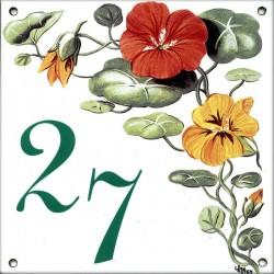 Plaque émaillée 15 x 15 cm : Décor Pétunias