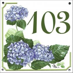 Plaque émaillée 15 x 15 cm : Décor Hortensias