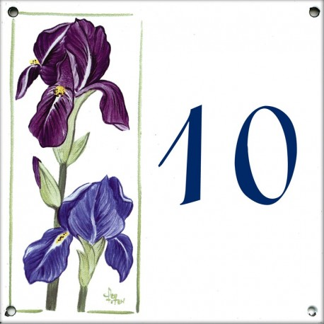 Plaque émaillée 15 x 15 cm : Décor Iris