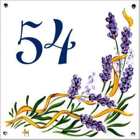Plaque émaillée 15 x 15 cm : Décor Fleurs de Lavande