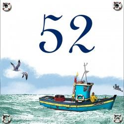 Plaque émaillée 15 x 15 cm : Décor Bateau de Pêche