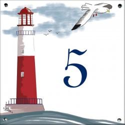 Plaque émaillée 15 x 15 cm : Décor Phare Rouge