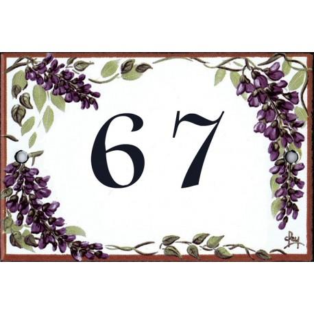 Numéro émaillée 7 x 10,5 cm : Décor Glycines