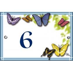 Numéro émaillée 7 x 10,5 cm : Décor Papillons