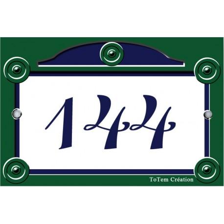 Numéro émaillée 7 x 10,5 cm : Décor Rue de Paris