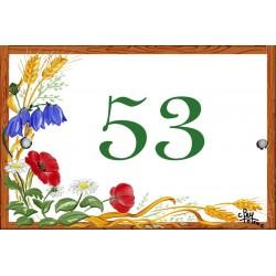 Numéro émaillée 7 x 10,5 cm : Décor Jardin fleuri