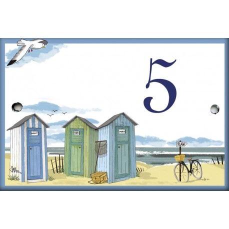 Numero émaillée 7 x 10,5 cm : Décor Cabines de plage