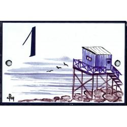 Numéro émaillée 7 x 10,5 cm : Décor Cabane du pêcheur