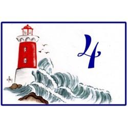 numéro émaillée 7 x 10,5 cm : Décor Le phare rouge