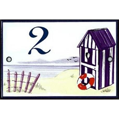 numéro émaillée 7 x 10.5 cm : Décor Cabine de plage bleue
