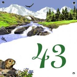 Plaque émaillée 15 x 15 cm : Décor Montagne.