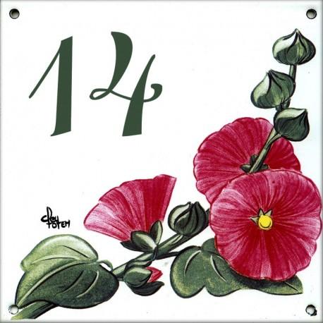 Plaque émaillée 15 x 15 cm : Décor Roses Trémières