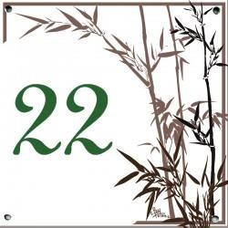 Plaque émaillée 15 x 15 cm : Décor Roseaux