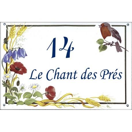 Plaque émaillée 20 x 30 cm : Décor Chants des Prés