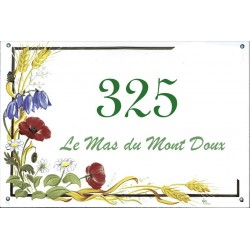 Plaque émaillée 30 x 45 cm : Décor Fleurs des Champs