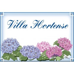 Plaque émaillée 30 x 45 cm : Décor Hortensias