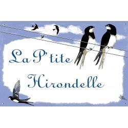Plaque émaillée 30 x 45 cm : Décor Couple Hirondelles