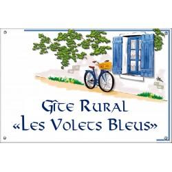Plaque émaillée 30 x 45 cm : Décor Bicyclette Bleue