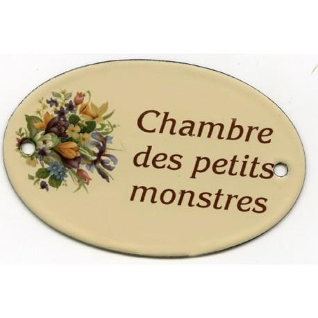 Pour votre décoration : Plaque de service émaillée plate de 11x7cm crème, fleurs assorties CHAMBRE des petits MONSTRES