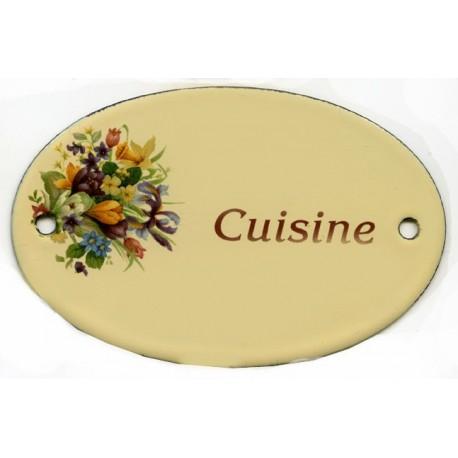 Plaque émaillée plate 11x7cm crème, fleurs assorties CUISIN