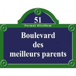 Plaque de rue émaillée Paris 65 x 35 cm avec fronton.