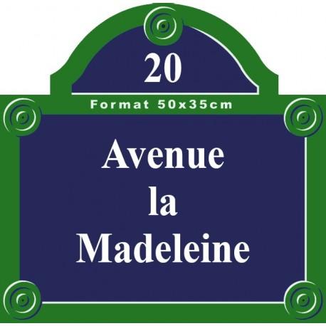 Plaque rue émaillée Paris 50 x 35 cm avec fronton.