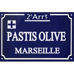 Plaque de Rue émaillée  MARSEILLE 20 x 30 cm.