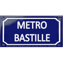 Plaque de rue émaillée 12x24cm : Station métro BASTILLE.