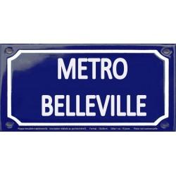 Plaque de rue émaillée 12x24cm : Station métro BELLEVILLE.