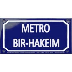 Plaque de rue émaillée 12x24cm : Station métro BIR-HAKEIM.