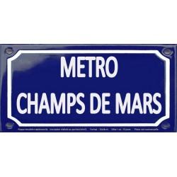 Plaque de rue émaillée 12x24cm : Station métro CHAMPS DE MARS.