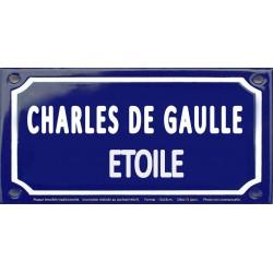 Plaque de rue émaillée 12x24cm : Station métro CHARLES DE GAULLE.